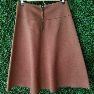 HD in Paris Brown Long Midi Neoprene Flare Skirt S